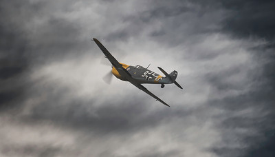 Hispano HA-1112-M4L Buchon White 9 G-AWHH at a moody Duxford Battle of Britain Airshow 2018 By David Stoddart