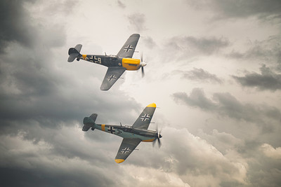 Hispano HA-1112-M4L Buchon White 9 G-AWHH with Hispano HA1112 M1L Buchon C4K152  220  White 5 (G-AWHR) at Duxford Flying Legends Airshow 2019 by David Stoddart
