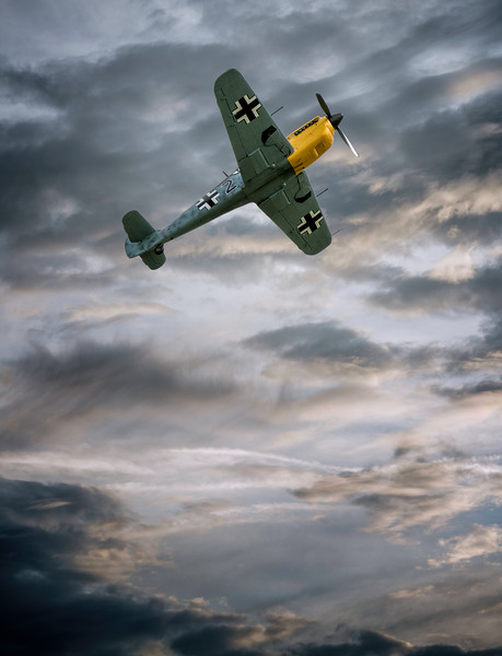 BF 109 Buchon soaring into the clouds at Flying Legends 2016 By David Stoddart