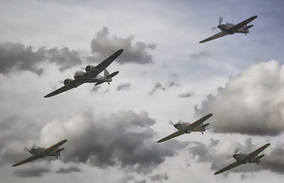 Bristol Blenheim - Hawker Sea Hurricane and 3 Hawker Hurricanes at Duxford Battle of Britain Airshow 2018! By David Stoddart