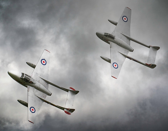 de Havilland Vampires  in moody skies at Duxford Battle of Britain Airshow 2018  By David Stoddart