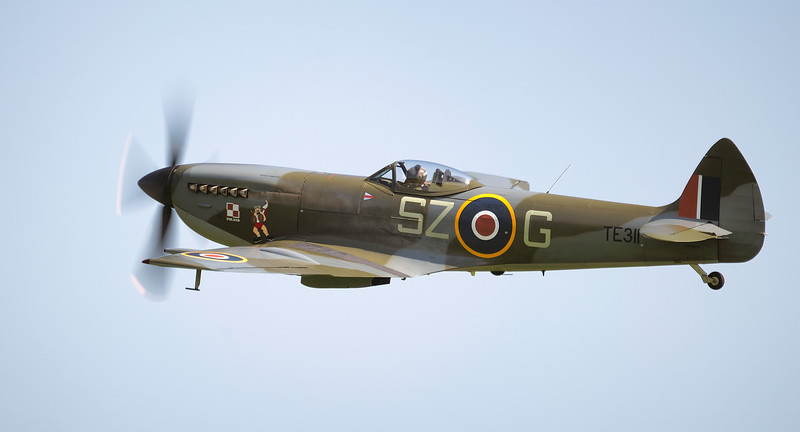 Supermarine Spitfire Mk XVI TE311 side-on at Shuttleworth Airshow 2018  By David Stoddart