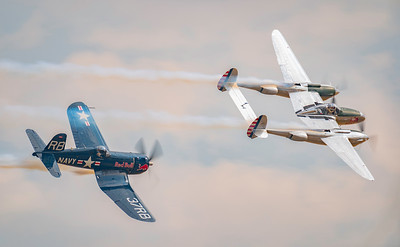 F4U-4 Corsair (OE-EAS) and P.38 Lightning (N25Y) at Flying Legends Airshow 2018 By David Stoddart