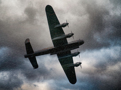 "BBMF Avro Lancaster Bomber PA474 ""Leader"" Powering through the storm Bomb Bay Open at Duxford Battle of Britain Airshow 2018  By David Stoddart"
