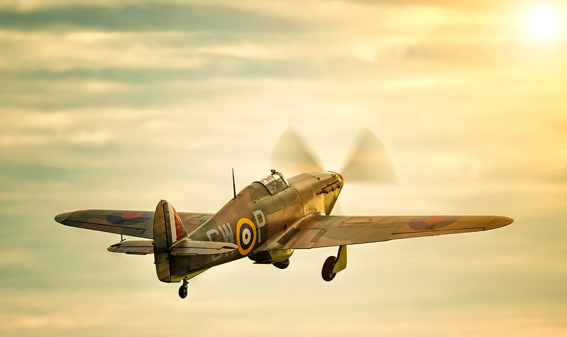 Hawker Hurricane Mk I P3717 Taking off into the Sunset. By David Stoddart