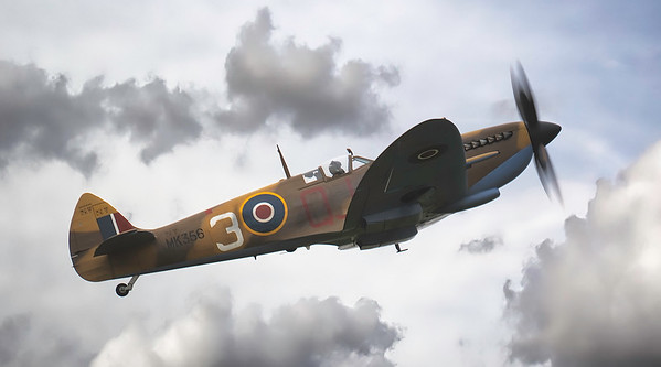 BBMF Supermarine Spitfire MK356 LF IXe in the clouds at Duxford Battle of Britain Airshow 2018  By David Stoddart