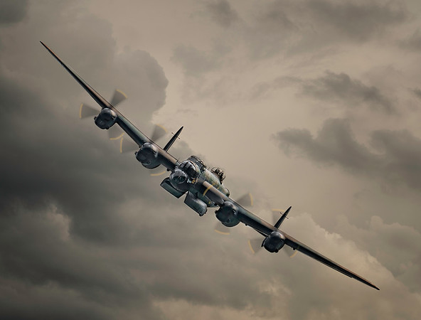 BBMF Lancaster Bomber PA474 Approaching with Bomb Bay Open By David Stoddart