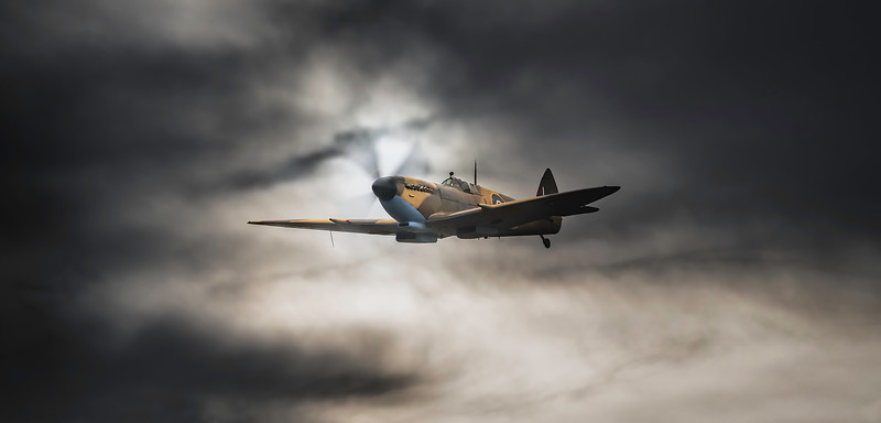 BBMF Supermarine Spitfire MK356 LF IXe out of the storm at Duxford Battle of Britain Airshow 2018  By David Stoddart