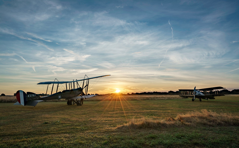B.E.2e and the Sopwith Snipe at Dawn. By David Stoddart