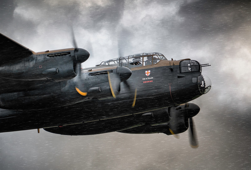 "BBMF Avro Lancaster Bomber PA474 ""Leader"" powering through the rain at Duxford Battle of Britain Airshow 2018  By David Stoddart"
