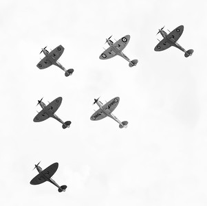 Spitfire Squadron. Something a little different today, 6 Spitfires from the stunning formation at Flying Legends Airshow 2018. B&W version. By David Stoddart