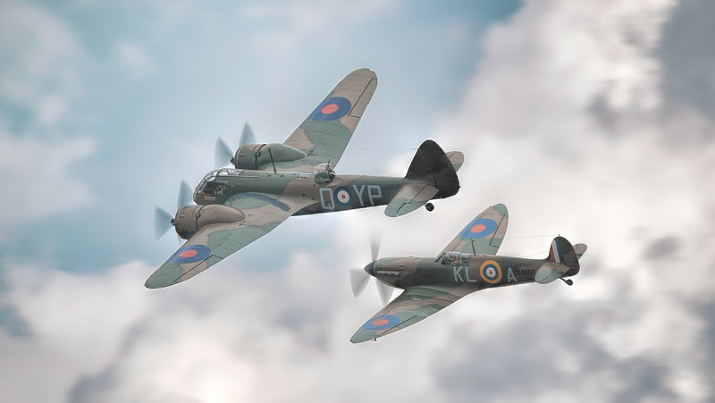 Supermarine Spitfire X4650 MkI G-CGUK and Bristol Blenheim Mk IF L6739 soaring across Flying Legends 2018 By David Stoddart