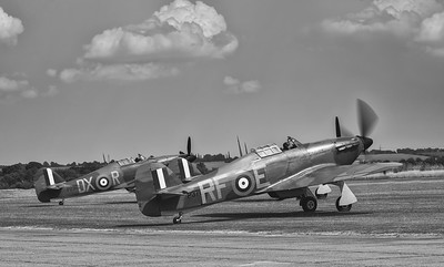 Hawker Hurricanes P2902 and P3700 ready for battle at Duxford Flying Legends Airshow 2018 By David Stoddart