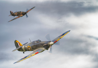 Hawker Hurricane Formation of Sea Hurricane IB Z7015 And Hurricane Mk I P3717 At Shuttleworth Airshow 2018  By David Stoddart