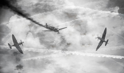 """Smoked"" My composite from Duxford Battle of Britain Airshow 2018 Depicting a dogfight from WW2.  By David Stoddart"