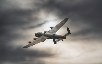BBMF Avro Lancaster Bomber PA474 in moody skies at Duxford Battle of Britain airshow 2018.  By David Stoddart