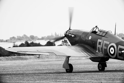 Hawker Hurricane Mk12A G-HURI P3700 RF-E Preparing for take off at Duxford  By David Stoddart