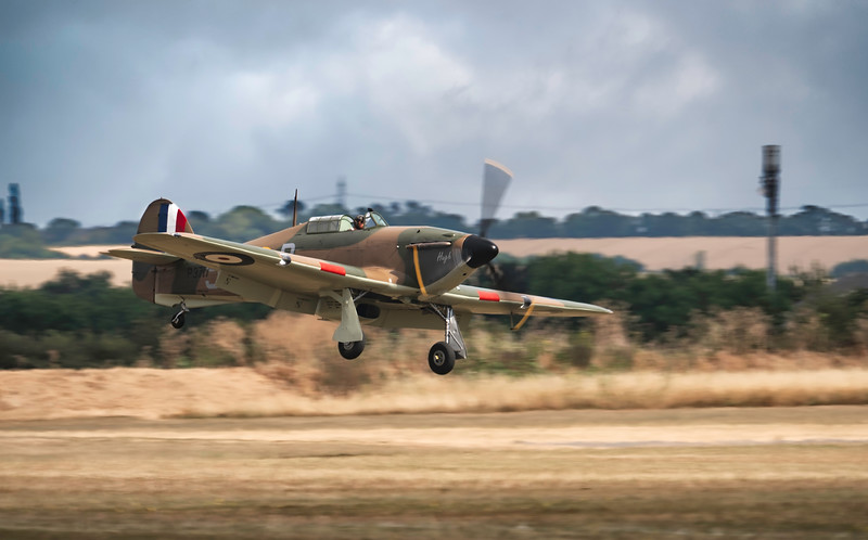 Hawker Hurricane Mk I P3717 Landing at Duxford Flying Legends Airshow 2018 By David Stoddart
