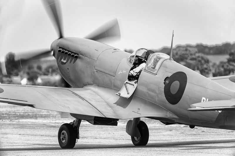Supermarine Spitfire PRXI PL983 (G-PRXI) Taxiing out at Flying Legends Airshow 2018 B&W Version  By David Stoddart
