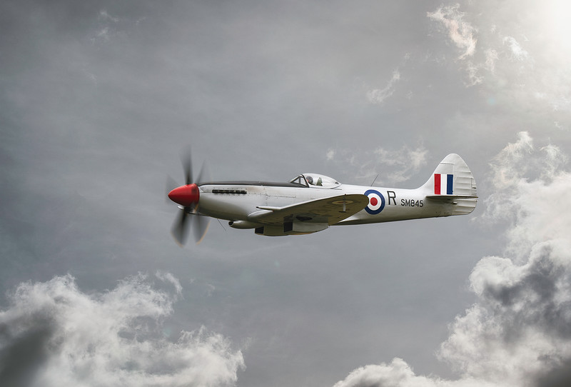 Supermarine Spitfire FR Mk XVIIIe SM845 Soaring across Flying Legends Airshow 2019 By David Stoddart