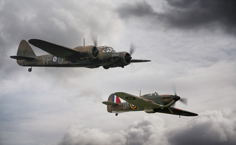 Bristol Blenheim Mk IF L6739 and Hawker Hurricane Mk.I P2902 (G-ROBT) at Duxford Battle of Britain Airshow 2018  By David Stoddart