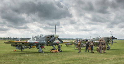The re-enactment group preparing next to the Hurricanes. By David Stoddart