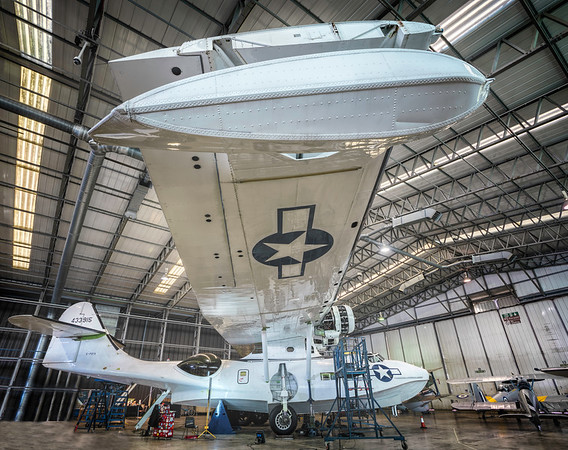 Catalina PBY5A Miss Pick Up in the Hangar for Winter Maintenance 2017. By David Stoddart