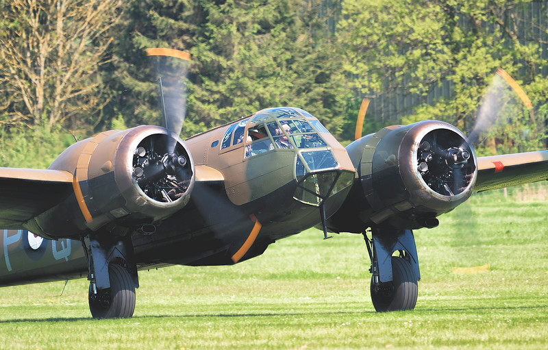 John Romain Taxiing out in the Bristol Blenheim Mk IF L6739 By David Stoddart