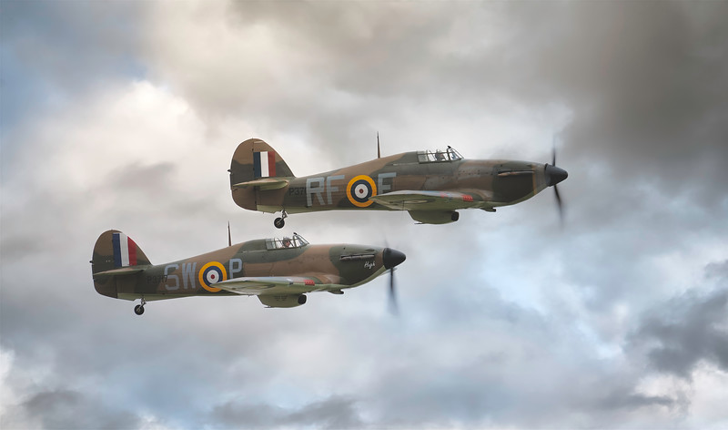 Hawker Hurricanes P3717 and P3700 at Flying Legends Airshow 2018 By David Stoddart