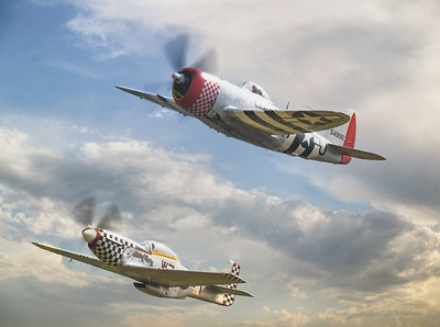 """Republic P-47D Thunderbolt 549192 """"Nellie The Jug"""" with North American TF51D Mustang 'Contrary Mary' (G-TFSI) at Duxford Flying Legends Airshow 2019  By David Stoddart"""