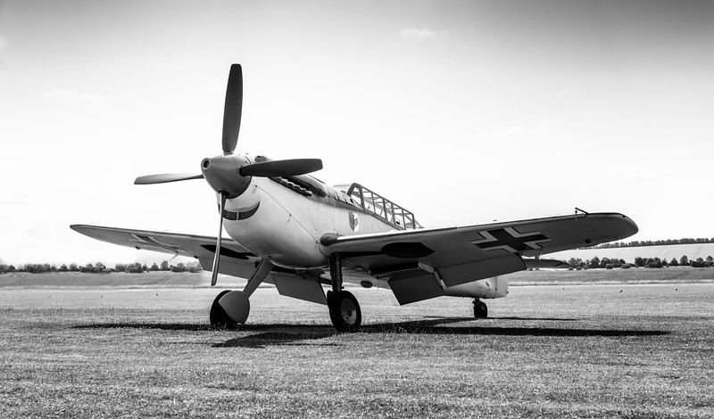 Hispano HA-1112-M4L Buchon Red 11 G-AWHC Twin Seater on the flight line 2 at Flying Legends Airshow 2018  By David Stoddart