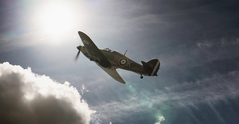 Hawker Hurricane Mk IIa (F-AZXR) P3351 into the sun at Duxford Flying Legends Airshow 2018  By David Stoddart