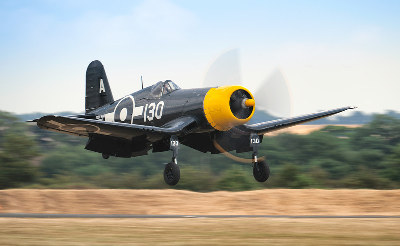 The Goodyear Corsair landing at Flying Legends 2018. By David Stoddart