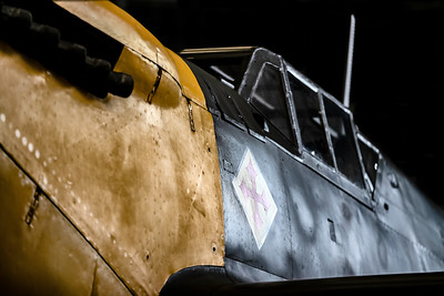 Hispano HA-1112-M4L Buchon White 9 G-AWHH up close and personal in the Hangar at Duxford.  By David Stoddart