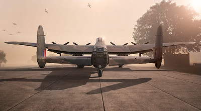 Lancaster NX611 Just Jane on a Dawn Bombing Raid By David Stoddart