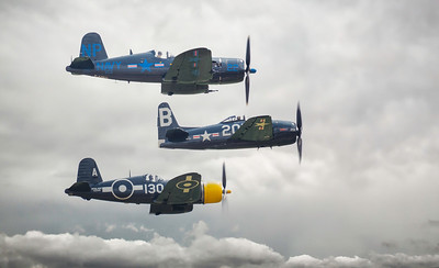 What a Trio! Grumman Bearcat F8F (G-RUMM) - Goodyear Corsair FG-1D (G-FGID) - Vought Corsair F4U-5N (F-AZEG) at Flying Legends Airshow 2018 By David Stoddart