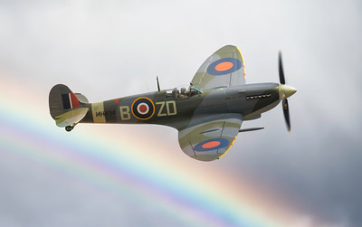 Supermarine Spitfire Mk IX MH434 - ZD-B over the rainbow At Flying Legends Airshow 2018. By David Stoddart