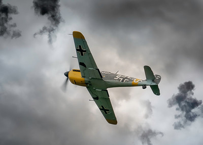 Hispano HA-1112-M4L Buchon White 9 G-AWHH Through the pyrotechnics at Duxford Battle of Britain Airshow 2018  By David Stoddart
