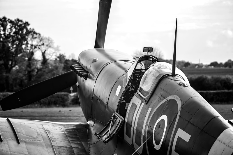 Supermarine Spitfire Mk.V AR501 in RAF 310 Czech Livery At Shuttleworth Airshow 2019 B&W Version By David Stoddart