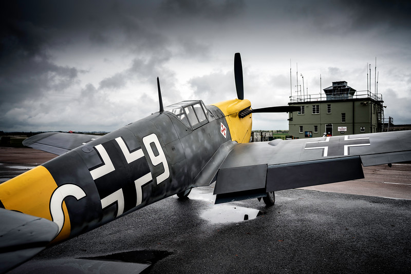 Eerie! Hispano HA-1112-M4L Buchon White 9 G-AWHH outside the control tower at Duxford Winter 2018  By David Stoddart