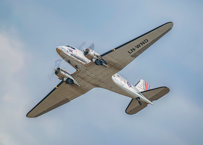 Douglas C-53D-DO Dakota (LN-WND) Soaring across Flying Legends Airshow 2018 By David Stoddart