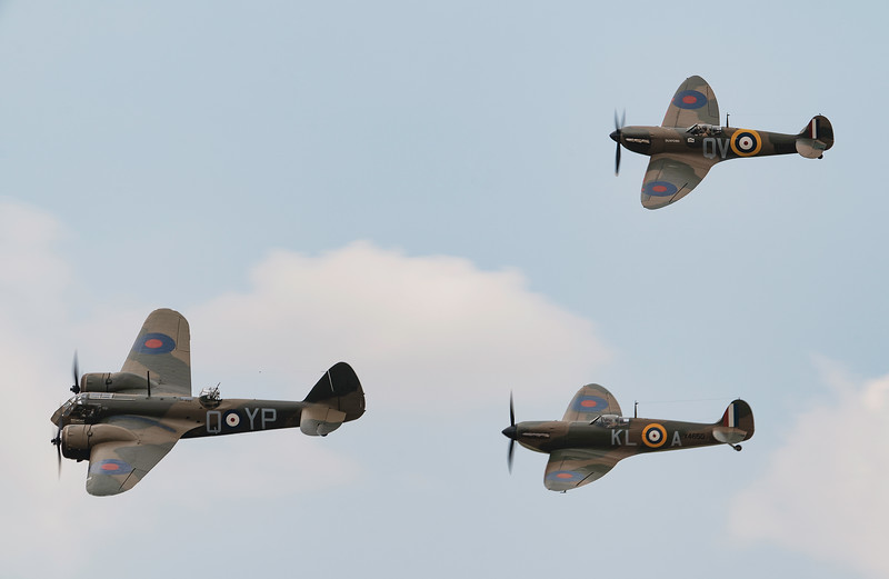 Bristol Blenheim Mk IF L6739 with MkI Supermarine Spitfires N3200 and X4650 At Flying Legends Airshow 2018  By David Stoddart