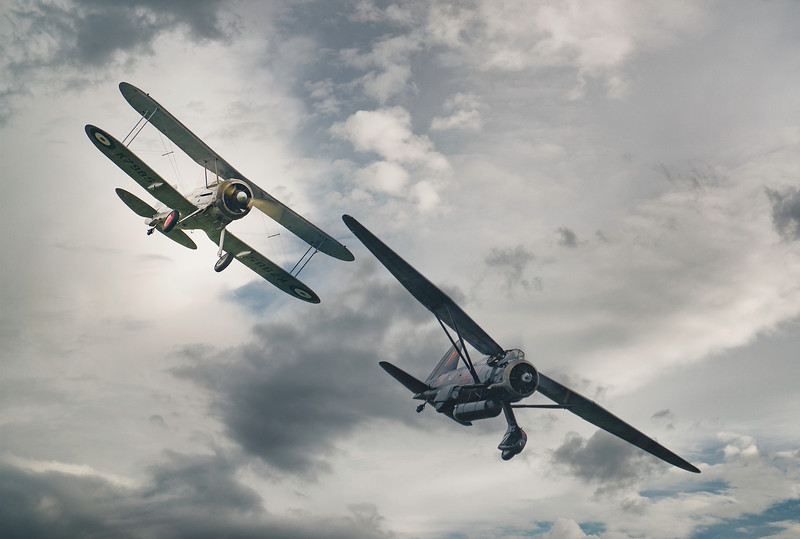 Gloster Gladiator K7985 and Westland Lysander V9367 at Duxford Battle of Britain Airshow 2018  By David Stoddart