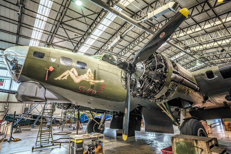 "B-17 Flying Fortress G-BEDF ""Sally B"" in the Hangar at Duxford for Winter maintenance. By David stoddart"