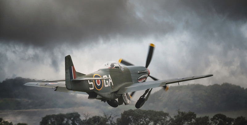 "North American P-51D Mustang (G-SHWN) ""The Shark"" Taking Off at Duxford Battle of Britain Airshow 2018  By David Stoddart"