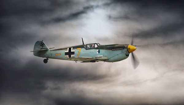 Hispano HA-1112-M4L Buchon Yellow 7 G-AWHM in moody skies at Flying Legends Airshow 2018  By David Stoddart