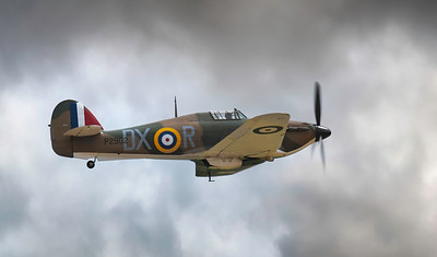 Hawker Hurricane Mk.I P2902 (G-ROBT) In the clouds at Flying Legends Airshow 2018  By David Stoddart