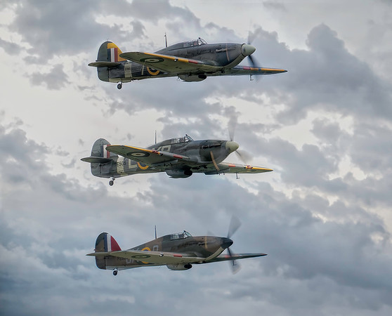 Hurricane formation of Hurricane MkI P2902 with Sea Hurricane MkIIB BE505 and Sea Hurricane Mk IB Z7015 By David Stoddart