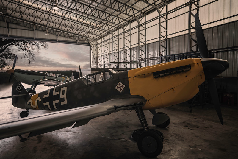 The Buchon BF109's in the Hangar at Duxford By David Stoddart Warbirds Photographer