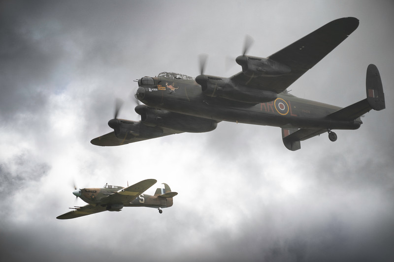 BBMF Avro Lancaster PA474 and BBMF Hawker Hurricane Mk IIC PZ865 in moody skies at Duxford Battle of Britain Airshow 2018 By David Stoddart